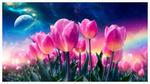 Обои Розовые тюльпаны на фоне неба с планетой, by Gene Raz von Edler