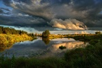 Обои Речка осенью под сумрачным небом, фотограф Виталий Полуэктов