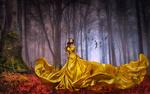 Обои Девушка в длинном желтом платье стоит на фоне леса, by Carlos Atelier2