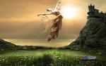 Обои Девушка - балерина парит в воздухе, by Carlos Atelier2