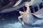 Обои Вокалойд Luo Tianyi сидит на обломках колонны, вдали проплывает большой синий кит