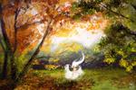 Обои Танцующая девушка в белом платье на фоне осенней природы, by shikami