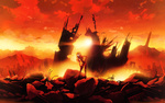 Обои Аска Лэнгли Сорью Шикинами / Sohryu Shikinami Asuka Langley из аниме Евангелион нового поколения / Neon Genesis Evangelion / Shinseiki Evangelion, стоит в костюме пилота на развалинах города