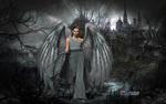 Обои Девушка в длинном сером платье с крыльями за спиной стоит на фоне замка, by Carlos Atelier2
