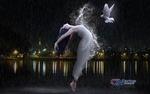 Обои Девушка в длинном белом платье парит в воздухе с голубем рядом с ней, by Carlos Atelier2