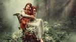 Обои Девушка сидит в лесу на пеньке с собакой в руках, фото Елены Лошмановой