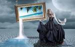 Обои Девушка в длинном платье стоит у картины с морским пейзажем, by Carlos Atelier2