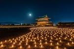 Обои Множество горящих фонарей у Хэйджо-Дворца, префектура Нара, Япония. Фотограф Hasan Jakaria