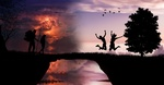 Обои Танец над бездной на закате и наблюдающие путники, by ms Kathrynne