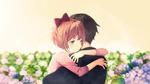 Обои Sayori / Саери обнимает персонажа из игры Doki Doki Literature Club, by Adiim