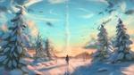 Обои Мужчина идет по снегу в сторону взлетевшей ракеты, art by Joel Fridstrom