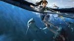 Обои Lara Croft / Лара Крофт из игры Tomb Raider / Расхитительница гробниц с гарпуном в руке сражается с акулами в море на фоне корабля