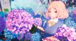 Обои Девушка среди цветов гортензии, by rengreng