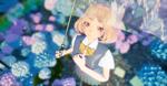 Обои Девушка с зонтом смотрит вверх, стоя среди цветов гортензии, by rengreng
