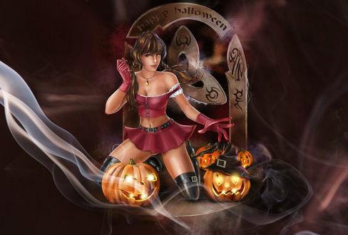 Конкурсная работа Ведьма стоит на коленках перед светильниками, (Happy Halloween / Счастливого Хэллоуина), by Kajenna