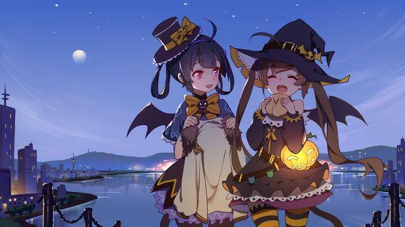 Конкурсная работа Две девочки в костюмах ведьмочек на Halloween, by Azur Lane