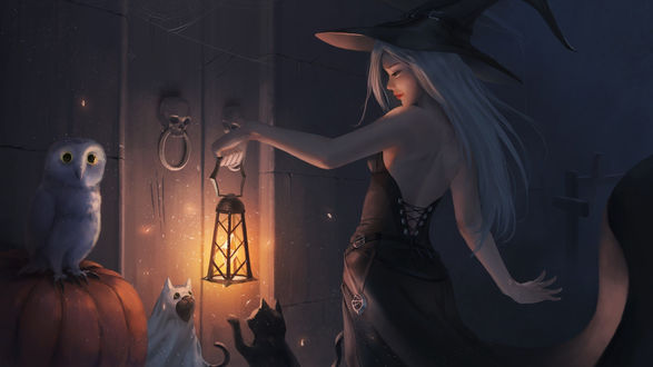 Конкурсная работа В ночь Хэллоуина ведьма с горящим фонарем в руке подходит к дверям, ручки которых выполнены в виде черепов, около двери сидят две кошки, одна из которых изображает привидение, и лежит тыква, на которой сидит сова
