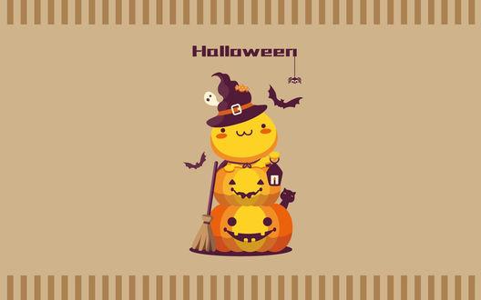 Конкурсная работа Куча мала из кавайного чудика и двух светильников Джека, похожая на снеговика (Halloween / Хэллоуин)