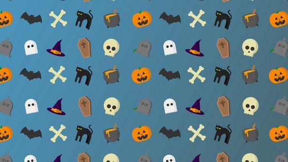 Конкурсная работа Текстура с изображением атрибутов Хэллоуина