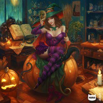Конкурсная работа Pumpkin Witch / Тыквенная Ведьма с кошкой из игры Murka / Мурка, by Mario Wibisono