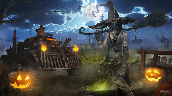 Ведьма и светильники Джека на фоне футуристического внедорожника, арт к игре Crossout, by Dima Hibikirus&Crossout