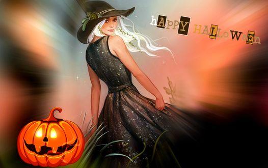 Конкурсная работа Девушка в ведьминой шляпе стоит у светильника Джека, (Happy Halloween / Счастливого Хэллоуина)