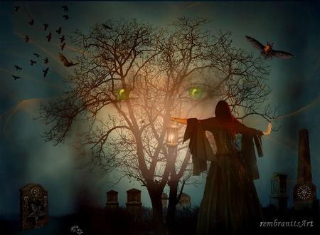 Конкурсная работа Девушка стоит на фоне дерева в ночь празднования Halloween / хеллоуина, by rembrantt