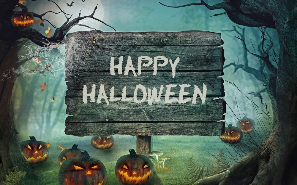Обои для рабочего стола Табличка с надписью Happy Halloween / Счастливого Хеллоуина поставлена в темном лесу среди тыкв
