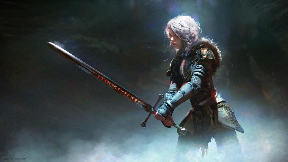 Обои для рабочего стола Ciri / Цирилла из игры The Witcher / Ведьмак, by Wojtek Fus