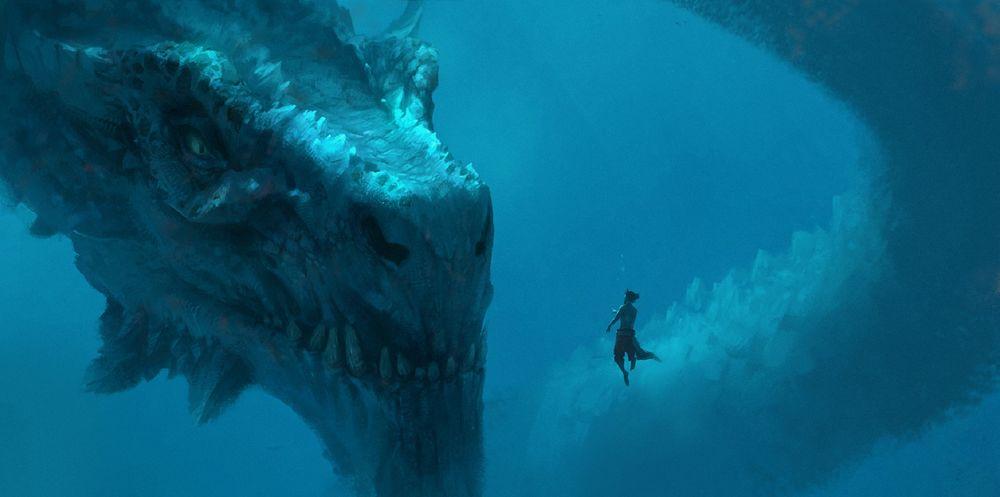 Обои для рабочего стола Огромный дракон под водой смотрит на мужчину, by DONG HUN KIM