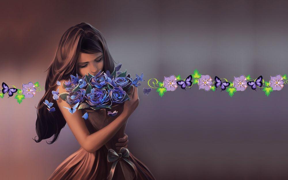 Обои для рабочего стола Девушка с букетом цветов, арт Cyril Rolando / Кирилла Роландо
