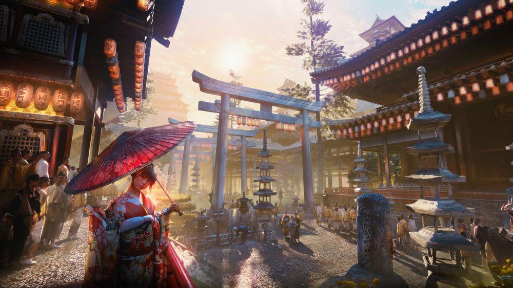 Обои для рабочего стола Гейша под зонтом на улице японского города с пагодами и воротами тории, by Christopher Schiefer