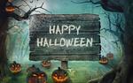 Обои Табличка с надписью Happy Halloween / Счастливого Хеллоуина поставлена в темном лесу среди тыкв