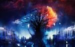 Обои Маленькие феи летают вокруг волшебного дерева, поддерживая в нем сияние, art by Martina Stipan
