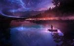 Обои Человек в лодке под ночным небом, by Martina Stipan