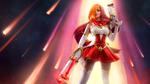 Обои Девушка с рыжими волосами держит в руках оружие, косплей на Мисс Фортуну из игры League of Legends