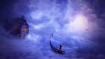 Обои Девушка в лодке перед домиком в облаках, by Andrian Valentino