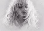 Обои Черно-белый портрет девушки с закрытыми глазами, by Mandy Jurgens