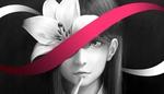 Обои Рисунок девочки с красной лентой, переплетающейся в знак бесконечности, и лилией, by bouno satoshi