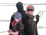 Обои Пейн / Pain, Konan и Tobi за колючей проволокой из аниме Наруто: Ураганные хроники / Naruto: Shippuuden