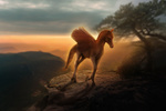Обои Крылатый жеребенок в лучах закатного солнца, by aetheriaa