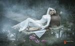 Обои Девушка в белом платье, с музыкальным инструментом лежит на мостике из бамбука в пруду, фотограф Nguyen Khoa