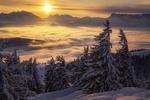 Обои Зимний восход солнца в Wieserhoerndl, Austria / Визерхорнле, Австрия. Фотограф Manuel Widl