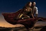 Обои Дженнифер Лопес / Jennifer Lopez и Марк Энтони / Marc Anthony летят на ковре самолете