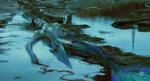 Обои Русалка, истекающая кровью от ран, лежит на берегу, by Valentina Remenar