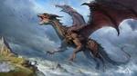 Обои Огромный крылатый дракон на фоне пасмурного неба, by lin wu