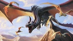 Обои Огромный разъяренный крылатый дракон в окружении летучих мышей на фоне неба и скал, by Brian Valeza