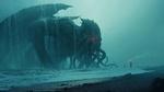 Обои Человек с факелом на берегу океана призвал огромного морского монстра - Cthulhu, by Andree Wallin