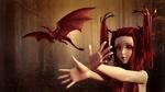 Обои Девочка с красными волосами и рогами на голове в лесу, пытается поймать маленького красного дракончика