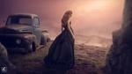 Обои Девушка в длинном платье стоит недалеко от заброшенного авто, by rajrkb